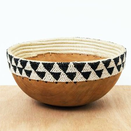 Valiente Goods Beaded Wooden Bowl II - Black/White