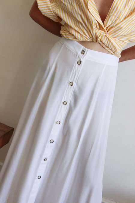 Avenue paneled button front skirt - white