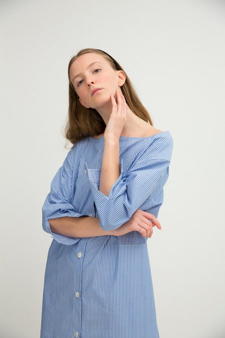 Sherie Muijs No. 26 Shirtdress - French Blue Stripe