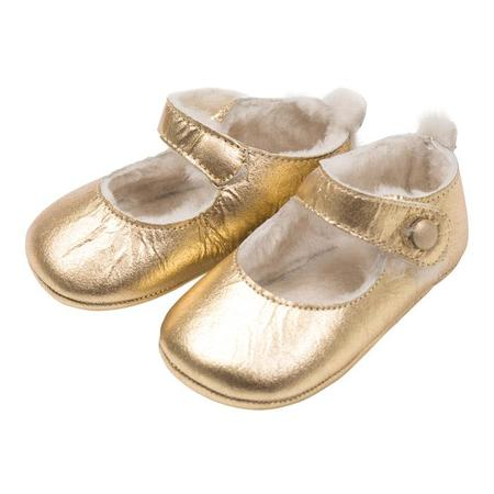 KIDS Bonton Baby Leather Shoes With Fur - Gold