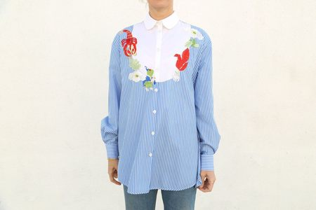 Vivetta Masdar Long Sleeve Embroidered Shirt - Navy Stripe