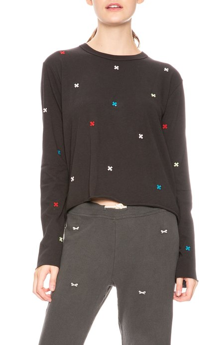 The Great. Embroidered Crop T-Shirt - Almost Black
