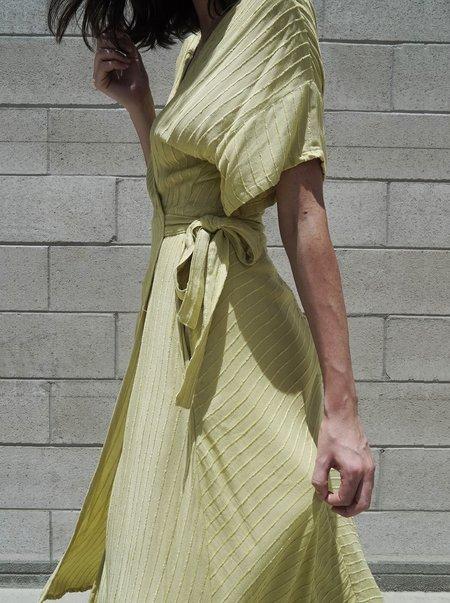 at Dawn. Stripe Wrap Mid Dress