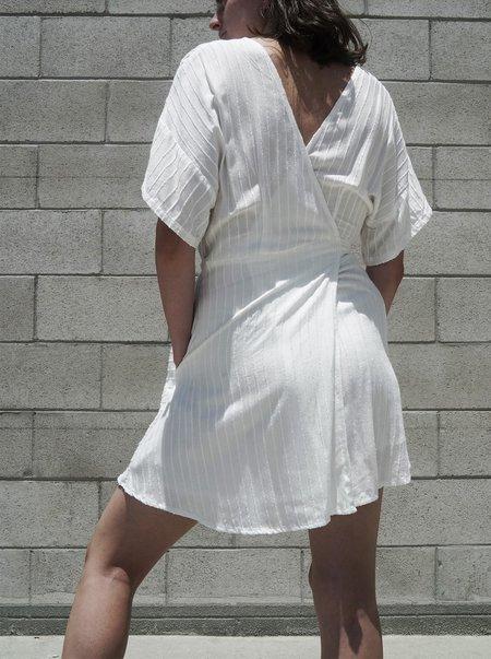 at Dawn. Stripe Wrap Mini Dress