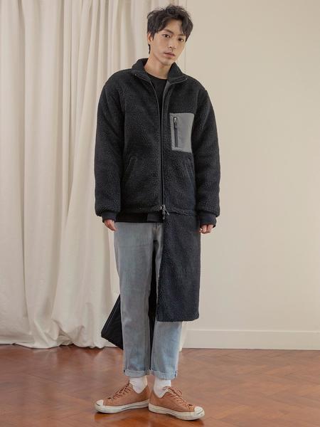 Unisex AINTCRACK Convertable Retro Transforming 2 Way Long And Short Fleece - Black