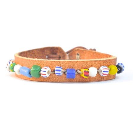 UNISEX Vintage Leather and Bead Bracelet