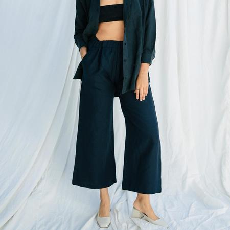 Ozma Crop Wide Leg Brushed Linen Pant - Black
