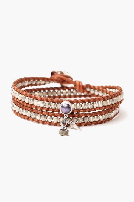 Chan Luu Silver and Pearl Double Wrap Bracelet