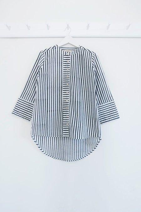 Karu Striped Boyfriend Shirt - Blue