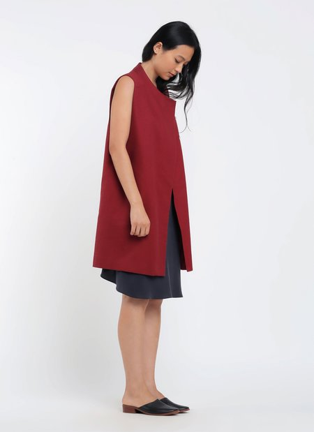 KAAREM Other Dropped Arm Overlap Vest - Berry Red