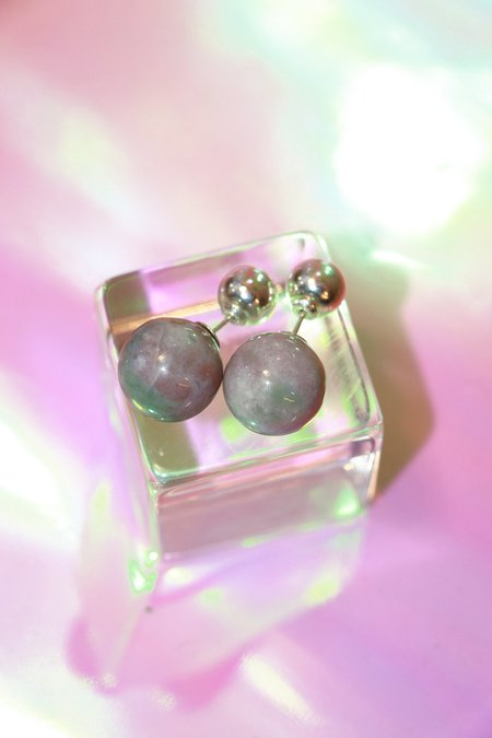 Yuun Staccato ll Earrings - Pink Jasper