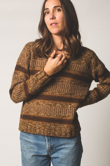 Preservation Vintage Knit Sweater - Brown Striped