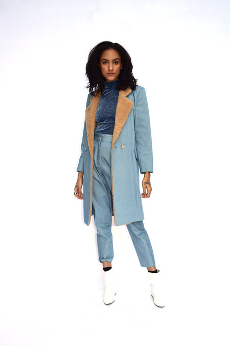 Kurt Lyle Veronica Coat - Light Blue/White