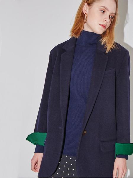 AND YOU Paris Single Button Blazer - Deep Navy/Fresh Green