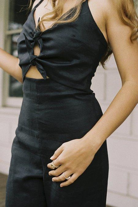 SISTER Cindy Tie Linen Jumpsuit - Black