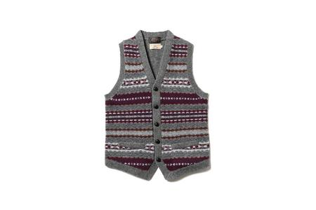 Beams + Fair Isle Knit Vest - Grey