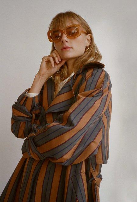 Da/Da Diane Ducasse  Cotton Canvas Trench Coat - Stripe