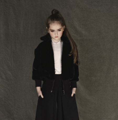 KIDS Unlabel Ama Black Fur Bomber Jacket - BLACK