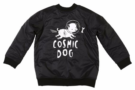 KIDS KUKUKID Cosmic Dog Bomber Jacket - BLACK