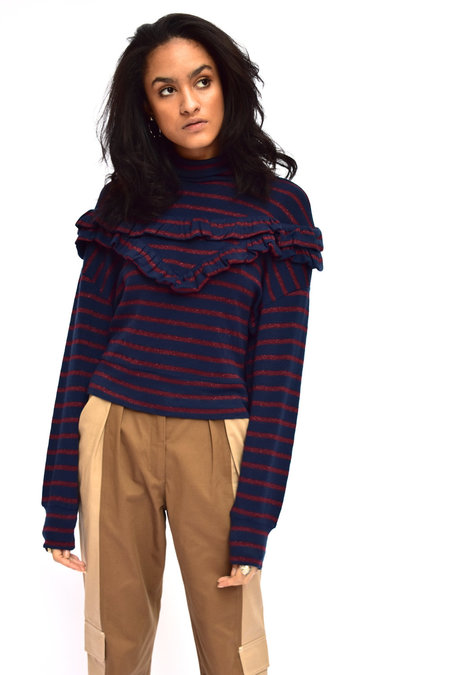 Kurt Lyle Striped Ruffle Top - Navy & Burgundy