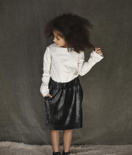 KIDS Unlabel Ela Velvet Skirt - GREY