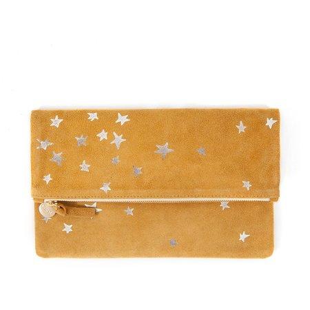 Clare V. Suede Stars Foldover Clutch - Mustard