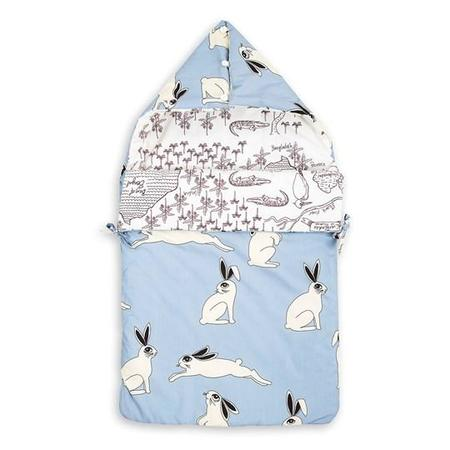 KIDS Mini Rodini Reversible Rabbit Sleeping Bag - BLUE