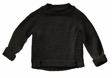 KIDS Bacabuche Soft Alpaca Pullover Sweater - BLACK