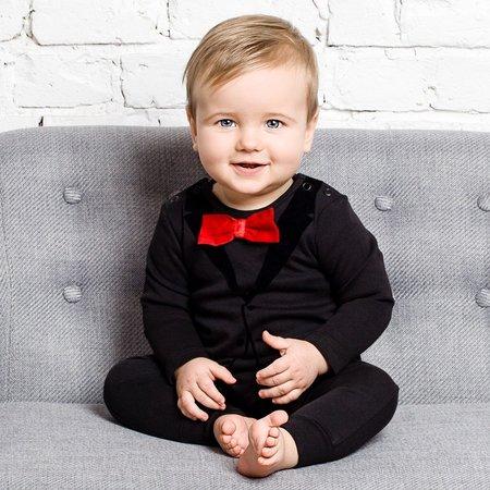 KIDS The Tiny Universe The Tiny Tuxedo Romper - BLACK