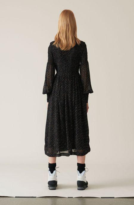 Ganni Printed Georgette Smock Dress | - Black