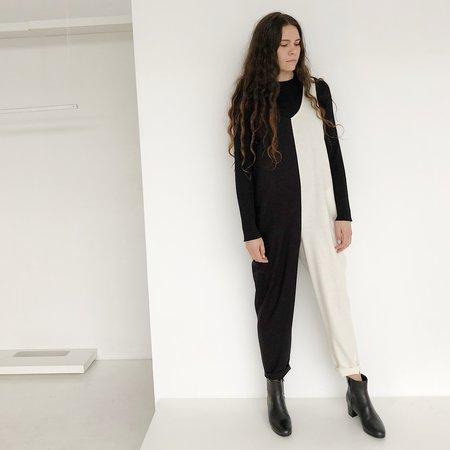 Laurs Kemp Colorblock Raw Silk Ulli Jumpsuit - Black/Ivory