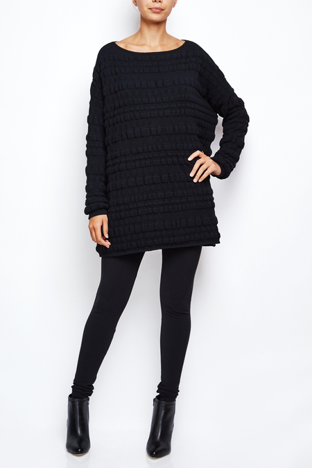 Sarah Pacini long oversize bubble sweater dress - BLACK