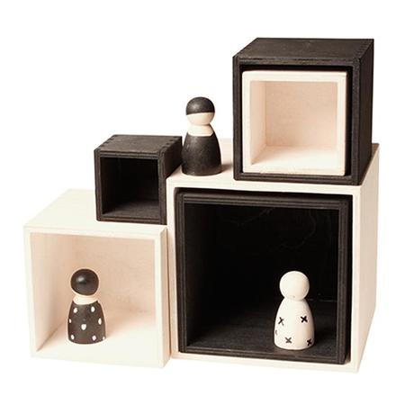 KIDS Grimm's Set Of Six Wooden Stacking Boxes Large Monochrome