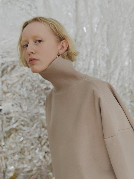 Priory Shop Brushed Ponte Tama Turtleneck - Sand