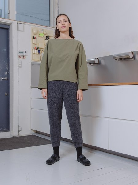 Priory Shop Light Poplin Arc Top - Green