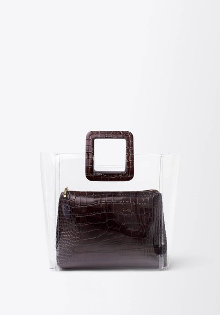 Staud Shirley Bag - Dark Brown Croc