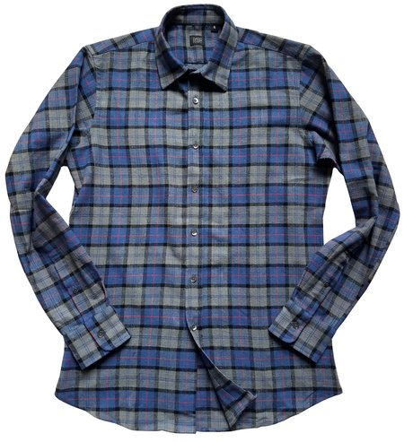 David Hart tartan button down SHIRT - blue/grey