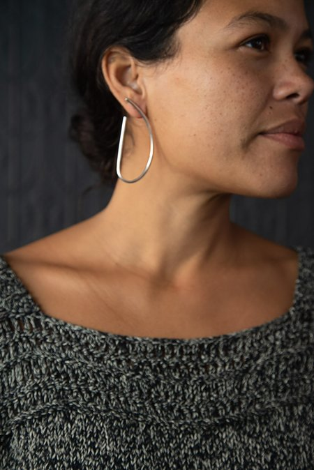 Fay Andrada Large Ele Hoop Earrings - STERLING SILVER