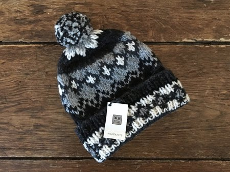Chamula Handknit Pompom Hat - Fair Isle Grey