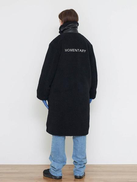 Unisex AGENDER High Collar Teddy Bear Coat - Black