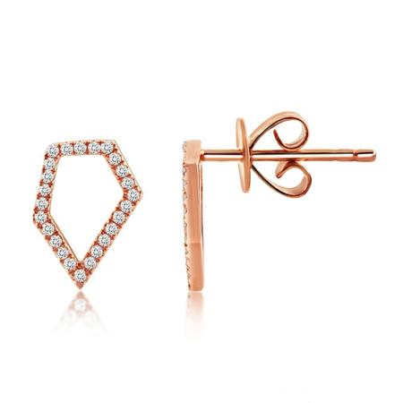 J. Luu Diamond Pentagon Earrings - Rose Gold