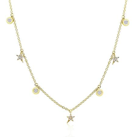 J. Luu Diamond Shooting Stars and Bezel Diamond Necklace - Yellow Gold