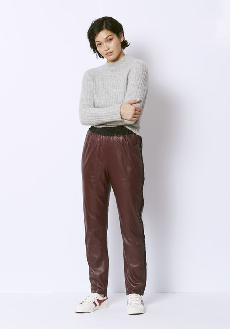 Veda Leather Rival Track Pant - Bordeaux
