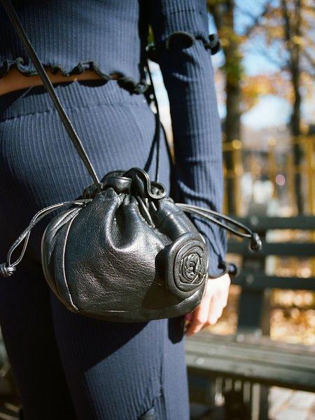 Vintage Portia & Manny Vintage Leather Rosette Bag - Black