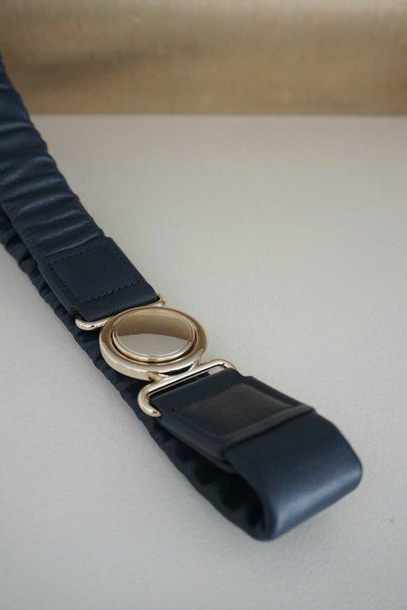 Maison Boinet Elastic Belt With Circle Buckle - Navy