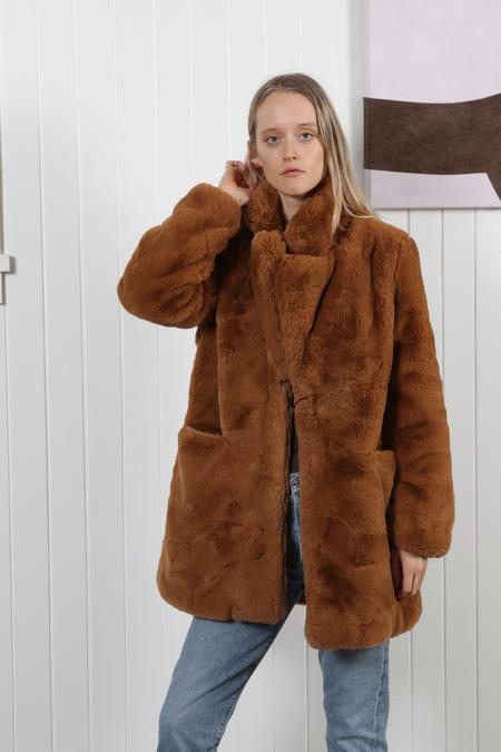 Apparis Sophie Faux Fur Coat - Chestnut