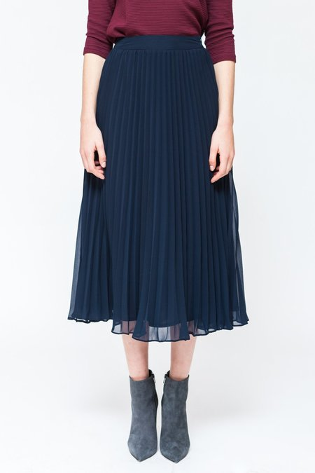 Sixth June Parisiennes Long Pleated Skirt - Navy