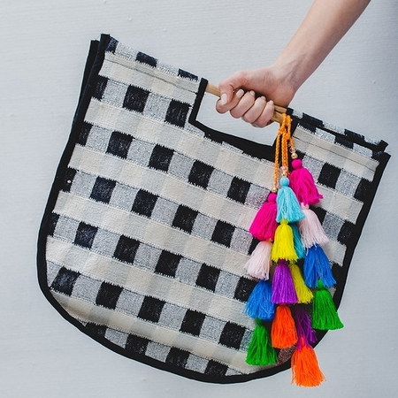 Langdon Gingham Round Carry All Bag - Black/Silver