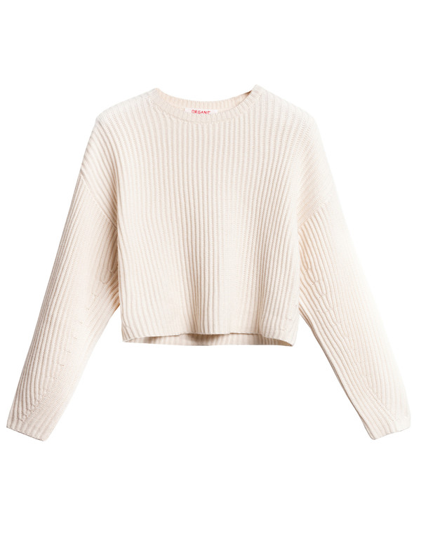 Organic by John Patrick Rib Crop Pullover New White