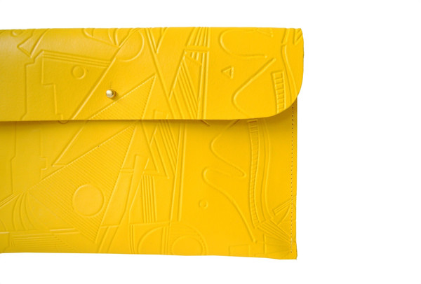 Danielle Wright Yellow Embossed Clutch
